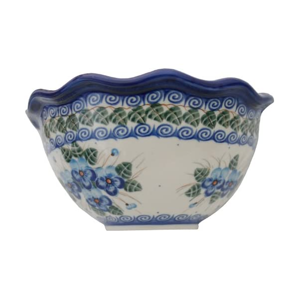Polish Pottery Ceramika Boleslawiec, 0413/162, Bowl Fala Small, 5 3/4 Cups, Royal Blue Patterns with Blue Pansy Flower Motif