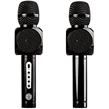 Wireless Bluetooth Karaoke Microphone, Ming Haidi Bluetooth Microphone, Portable Microphone and Speaker for Home KTV Outdoor Picnic Family Party Music,for iOS & Android Smartphone -Black ( One Pack )
