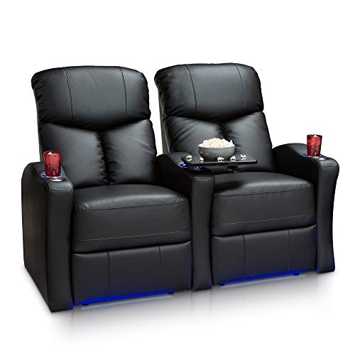 Seatcraft Raleigh Home Theater Seating Power Recline Leather Gel (Row of 2, Black) ()