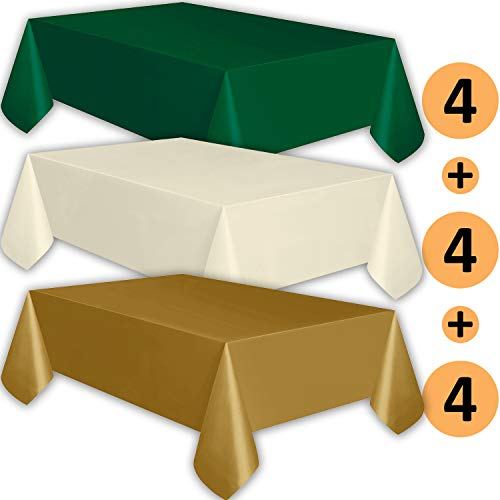 Gold Ivory Tablecloth - 12 Plastic Tablecloths - Forest Green, Ivory, Gold - Premium Thickness Disposable Table Cover, 108 x 54 Inch, 4 Each Color