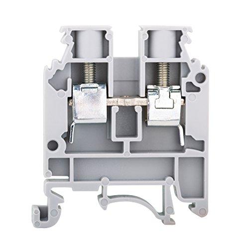 50a Type - Elmex Grey KUT 6N DIN Rail Terminal Block Screw Type UL 600V 50A 20-8 AWG, Pack of 100