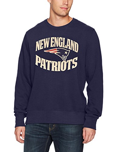 - NFL New England Patriots Men's OTS Fleece Crew Distressed, Light Navy, Small