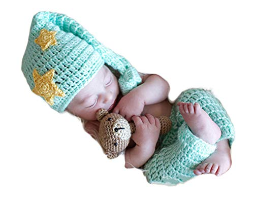 Infant Newborn Baby Boy Girl Crochet Costume Outfits Photography Props Moon and Star Hat+Pant 0-6 Months ()