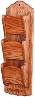 product image for Oak Narrow Hanging 3 Tier Letter/Bill Organizer with Key Hooks - Wall Mounted