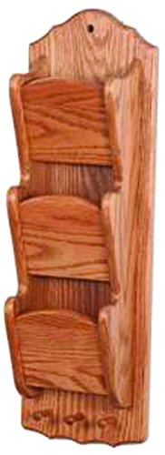 Oak Narrow Hanging 3 Tier Letter/Bill Organizer with Key Hooks - Wall Mounted ()