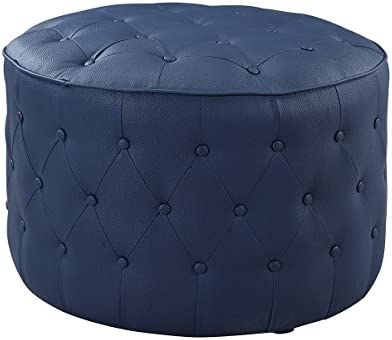 Iconic Home Marley Modern Tufted Blue Leather Round Pouf Ottoman