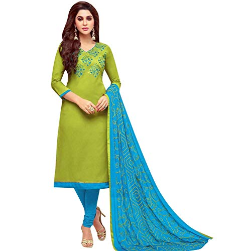 Ladyline Cotton Embroidered Salwar Kameez with Designer Embroidery Dupatta (Churidar Suits Designer)
