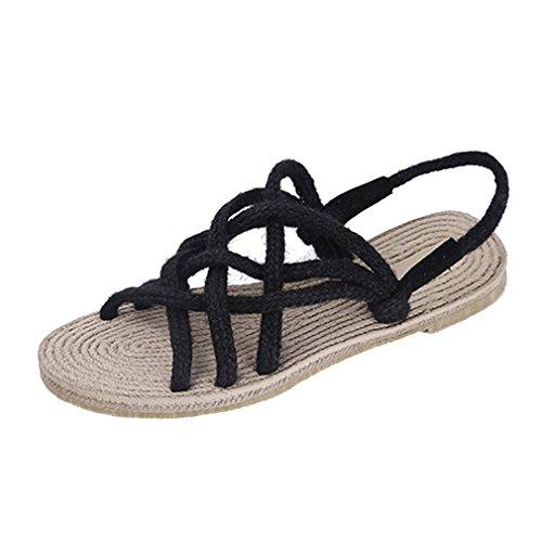 Planos Punta Mujer Abierta Redes 34 Negro Zapatos Verano 39 de Sandalias Pesca Entrelazadas EU TfFqwpT