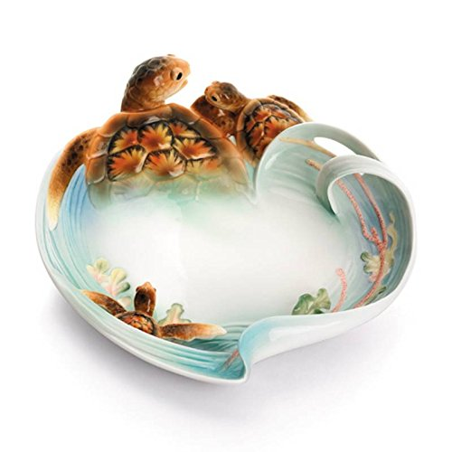 Retired Franz Sculptured Porcelain Ornamental Turtle Bay Design Plate in Adorable Treasures Gift Box
