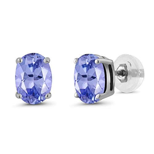 Gem Stone King 14K White Gold Tanzanite Gemstone Women's Stud Earrings (1.60 Cttw, Gemstone Birthstone 7X5MM Oval)
