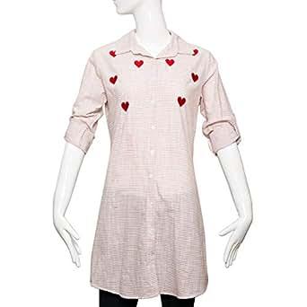 Puanli Brown Cotton Shirt Neck Shirts For Women