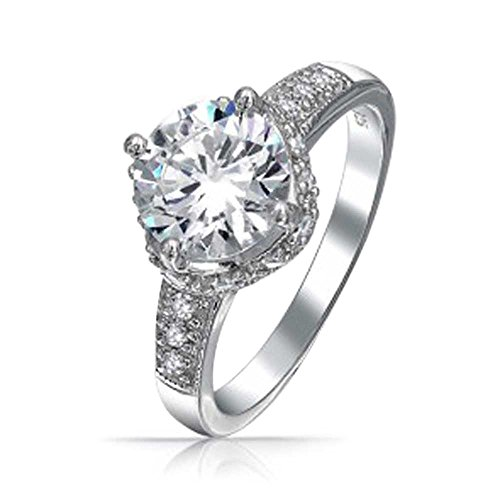 Engravable Round Stones Mothers Ring - 2.5CT Round Crown Set Brilliant Solitaire AAA CZ Engagement Ring For Women Pave Band Cubic Zirconia 925 Sterling Silver