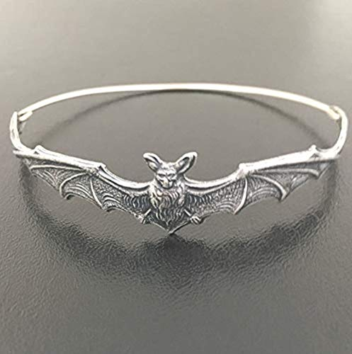 Bat Bangle Bracelet Frosted Willow Halloween Jewelry Theme Spooky Gift Silvertone Average Size Woman -