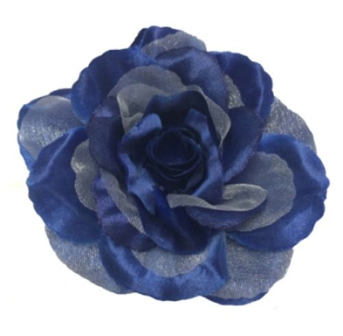 (Cuteque International CQA106-NAVY 3-Piece Packed Satin Organza Rose Embellishment, 4-Inch, Navy)