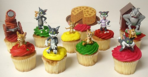 Tom And Jerry Party Supplies (Tom and Jerry 11 Piece Birthday Cupcake Topper Set Featuring Tom, Jerry, Spike and Decorative Themed Accessories)