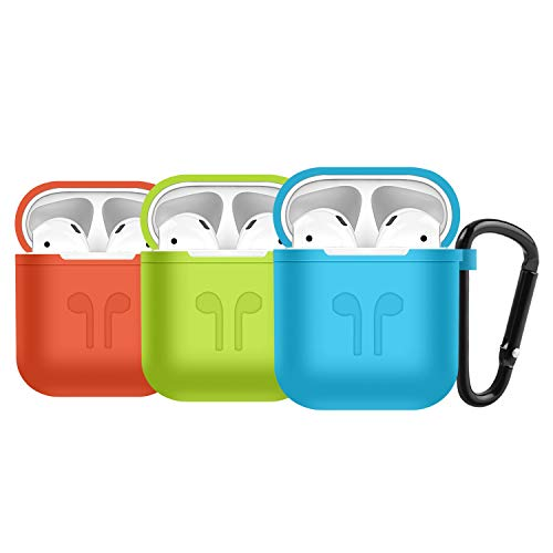 Easy+ Compatible Airpods Case, 3 pcs Silicone Protective Cover 3 pcs Keychain (BlueGreenRed)