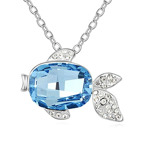 Adisaer Gold Plated Pendant Necklaces for Women Cubic Zirconia Fish Ocean (Avery Brass Pendant)