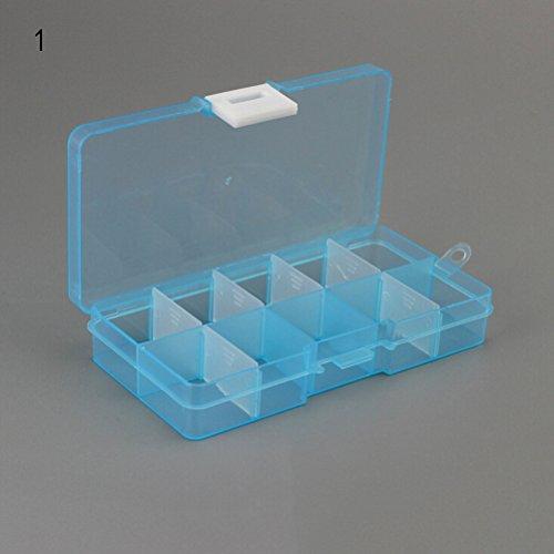 CosCosX 1 pc Plastic 10 Slots Adjustable Compartment Plastic Box Jewelry Bead Storage Bin Case Craft Organizer
