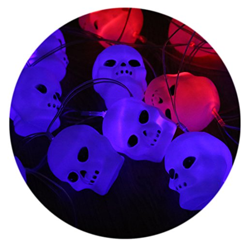 [A-SZCXTOP Happy Halloween Flashing Pumpkin/Skeleton Lantern String 16LED Great for Masquerade Halloween Party Props Skull head] (Cute Halloween Carved Pumpkins)