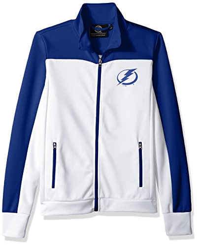 GIII For Her NHL Tampa Bay Lightning Women's Play Maker Track Jacket, Medium, White (Tampa Jacket Bay)