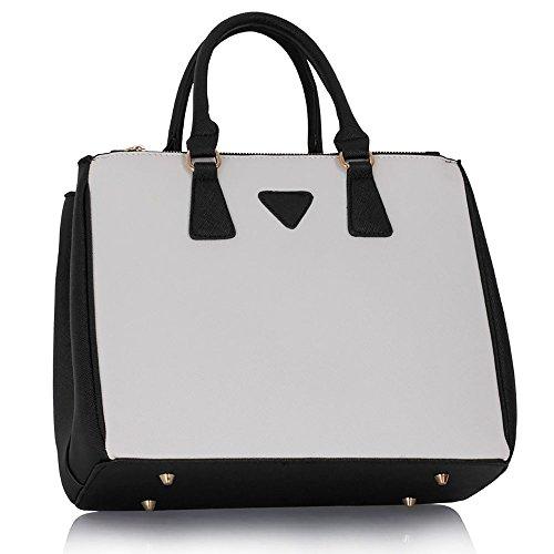 Shoulder Bag Ladies Handbag Leather Fashion Faux Tote White Womens Large New Designer Black q4wnF5IREx