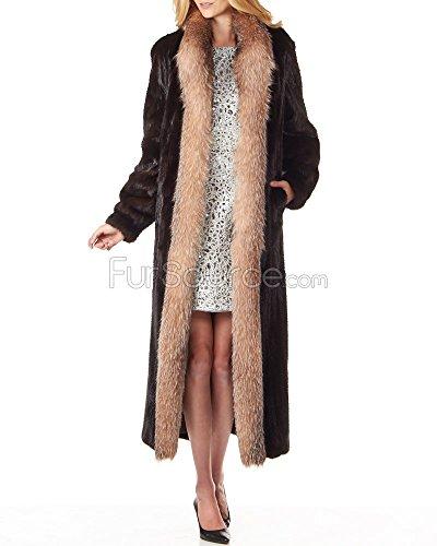 Frr Mahogany Mink Fur Full Length Coat with Crystal Fox Fur - Small