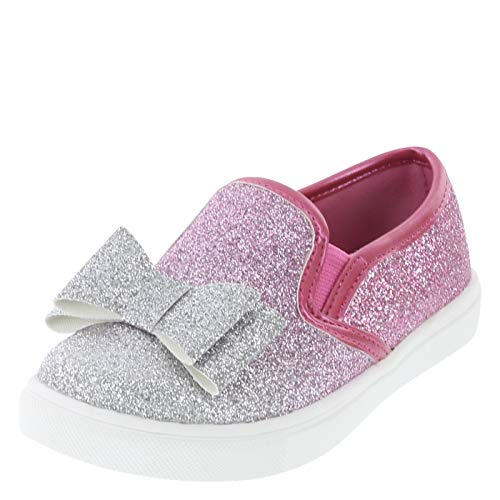 Minnie Mouse Bowtique Pink Glitter Girls' Toddler Minnie Bow Slip-On 6 Regular]()