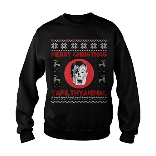 Unisex Christmas Home Alone Filthy Animals Knit Sweatshirt (L, -