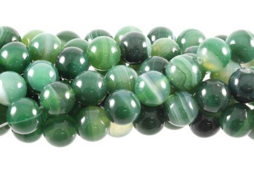 "12mm Green Striped Agate Gemstone Round Beads Approx 40cm 15"" Loose Strand Semi Precious Stone"