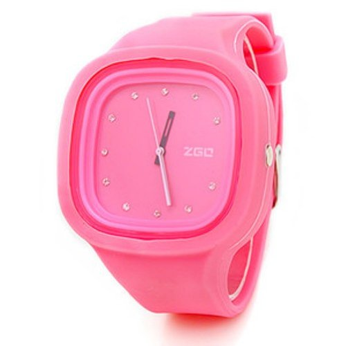 ZGO Quartz Jelly Watches with Rhinestones (Assorted Colors) (Pink)
