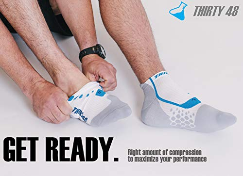 Thirty 48 Compression Low-Cut Running Socks for Men and Women (Small - Women 5-6.5 // Men 6-7.5, [3 Pairs] Blue/White) by Thirty 48 (Image #4)