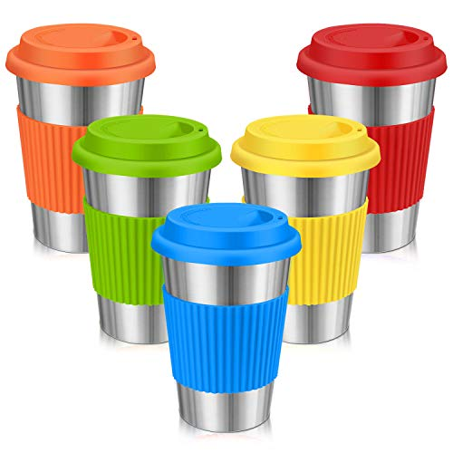Stainless Steel Cups, Spnavy 16 OZ Stackable Pint Cup Tumbler with Silicone Lids Sleeves for Adults Kids Toddlers Metal Drinking Glasses for Pubs, Bars, Travel, Camping, Home and Outdoor Use, 5 Pack (Nesting Drinking Cups)