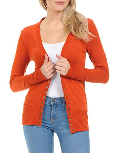 ClothingAve. Womens Snap Button Sweater Cardigan with Ribbed Detail - Copper/Medium