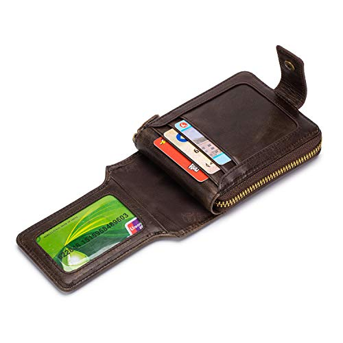 Mens Leather Bifold Wallet,Large Capacity Zipper Card Holder Wallets with ID Window and RFID Blocking Coffee