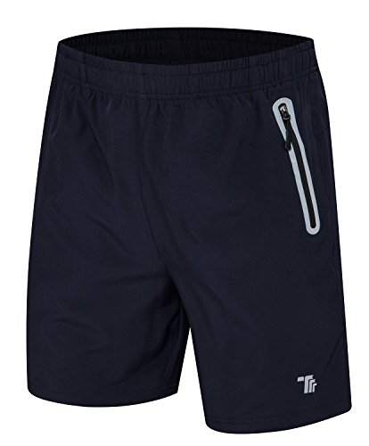 TBMPOY Men's 7'' Running Shorts Reflective Quick Dry Shorts with Zipper Pockets(Navy,us M)