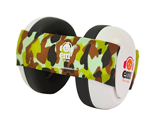 Ems for Kids Baby Earmuffs - White with Army Camo. Made in The U.S.A! The Original and ONLY Earmuffs Designed specifically for Babies Since 2009