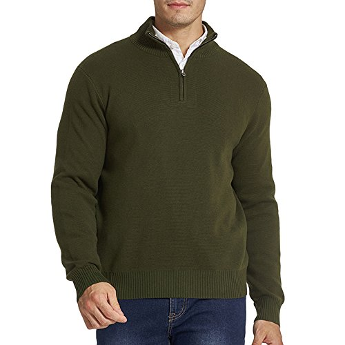 CHAUDER Men's Relaxed Fit Solid Quarter Zip Knitted Sweater with YKK Zipper