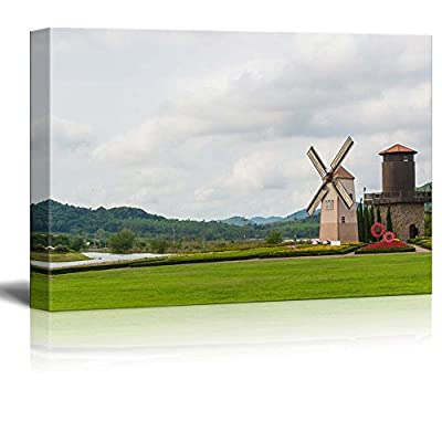 Canvas Prints Wall Art - Beautiful Scenery of Wind Turbine on a Grassland | Modern Wall Decor/Home Art Stretched Gallery Canvas Wraps Giclee Print & Ready to Hang - 32