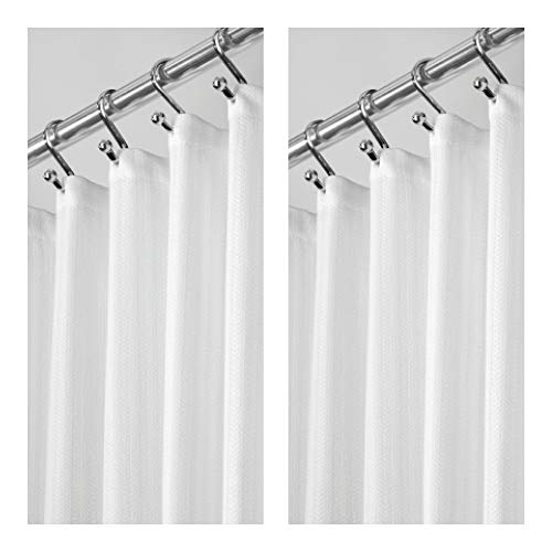 mDesign Hotel Quality Polyester/Cotton Blend Fabric Shower Curtain, Reinforced Buttonholes - Jacquard Herringbone Weave for Bathroom Showers and Bathtubs - 2 Pack, 72