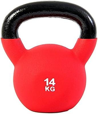POWRX Kettlebell Pesa Rusa Hierro Fundido 4-20 kg - Revestimiento Neopreno + PDF Workout (14 kg)