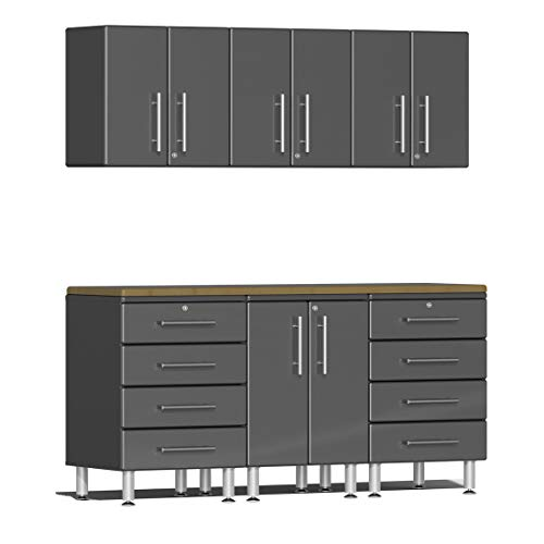Ulti-MATE UG22072G 7-Piece Garage Cabinet Kit with Bamboo Worktop in Graphite Grey - Cabinet Piece 7 Garage