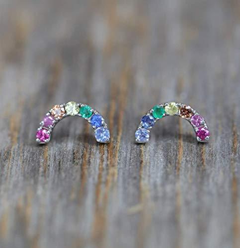 Genuine Emerald Sapphire Rainbow Gemstone Stud Earring- 14k White Gold- Rainbow earring