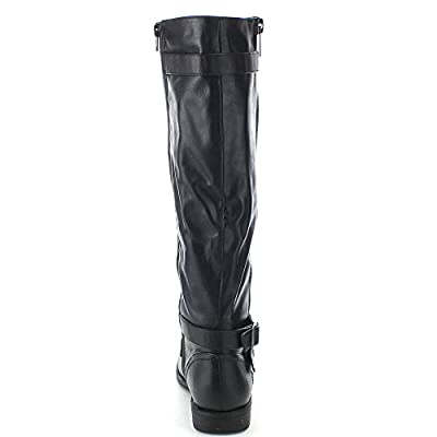 BAMBOO MONTANA-48 Women's Buckle Strap Side Zipper Knee High Riding Boots