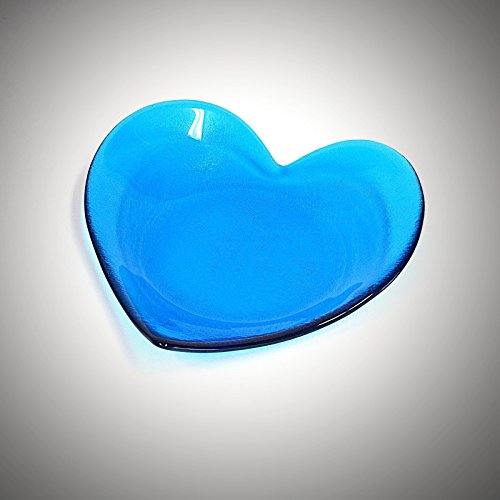 (Heart Shaped Glass Art Fruit Bowl Candy Dish in Turquoise Blue)