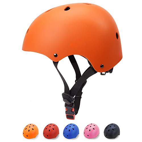 (Glaf Kids Bike Helmet Toddler Helmet Multi-Sport Skateboard Scooter Cycling Helmet CPSC Certified Impact Resistance Ventilation Adjustable Kids Helmet for Kids Youth 3-14 Years Old +(Orange,Small))