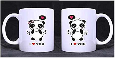 Amazon Com Funny Design Cute Cartoon Couple Pandas I Love You Twin Side Custom White Ceramic Mug Coffee Cup 11 Ounce A Couple Of Mugs For Couples Wedding Anniversary Valentine S Day Engagement Kitchen Dining