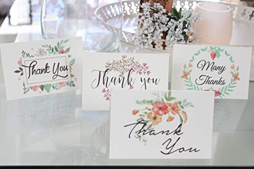 Thank You Cards Pack Of 100 - Blank Thank You Notes - Floral Water Colors - 4 X 6 Inches Thick White Note And Envelope - Personal And Business Use - Wedding And Baby Showers Photo #4