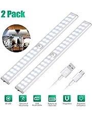 Magnetic Strip Lights PIR Motion Sensor LED Light USB Wireless LED Kitchen/Wall Lamp 3 Mode Brightness Level 40 LED Closet/Wardrobe/Under Cabinet Light (2pcs)