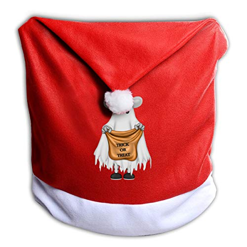 FUNMAX Halloween Ghost with Trick Or Treat Bag Non-Woven Xmas Christmas Themed Dinner Chair Cap Hat Covers Set Ornaments Backers Protector for Seat Slipcovers Wraps Coverings Decorations -