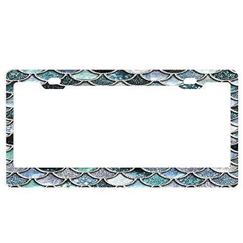 ASUIframeNJK Teal Silver and Green Sparkle Faux Glitter Mermaid Scales License Plate Frame Glitter Waterproof License Plate Covers Cute Car Tag Frame